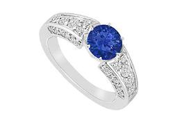 Created Sapphire and Cubic Zirconia Ring 14K White Gold 2.00 CT TGW