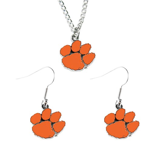 NCAA Clemson Tigers Necklace and Dangle Earring Charm Set