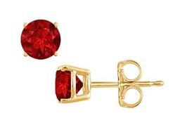 Yellow Gold Vermeil Prong Set Created Ruby Stud Earrings 1.00 CT TGW