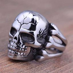 Punk Vintage Trend Men's Ring Gothic Men Skull Flower Biker Zinc Alloy Ring - 8, sa957
