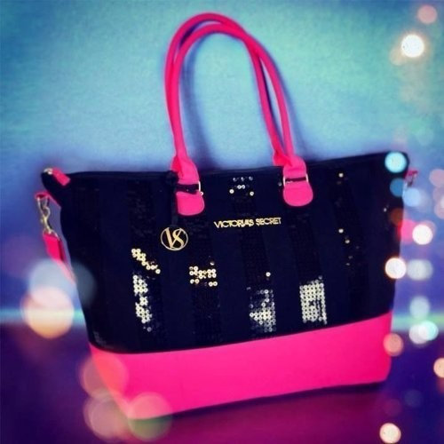 Victoria's Secret Glam Black Sequin Tote Bag