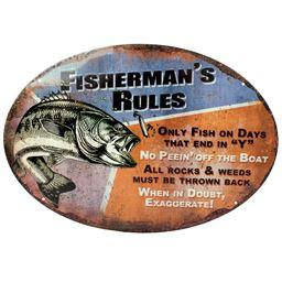Rivers Edge Products 1537 Rivers Edge Products 1537 Fisherman'S Rules Tin Sign 12X17