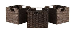 Winsome Granville Foldable 3-Piece Small Corn Husk Baskets, Chocolate