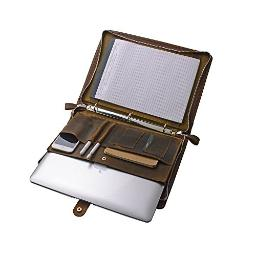 Rustic Leather Organizer Laptop Portfolio with 3-Ring Binder for 13 inch MacBook Air/Pro, Brown