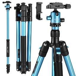 Mactrem Professional Camera Tripod With Phone Mount, 62 Dslr Tripod For Travel, Super Lightweight And Reliable Stability, Ball Head Tripod Detachable Monopod With Carry Bag Blue