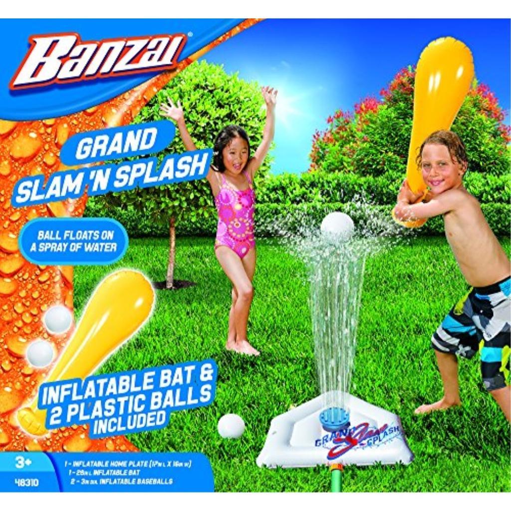 BANZAI Grand Slam N Splash ( Includes Inflatable Bat Home Plate and Two 2 Balls - Spring Summer Water Sports Splash Spray Baseball Game Backyard Fun Play Toy)