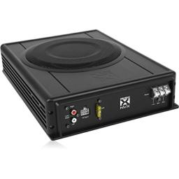 NVX 8-inch Complete Powered Subwoofer True 100-watt RMS Low Profile All-in-One Compact Bass Package [QBUS8v2]