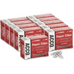 Paper Clip, Jumbo, Good Gripping Action amp; Corrosion Resistant, Silver, 100/Box ACC72580 by Acco