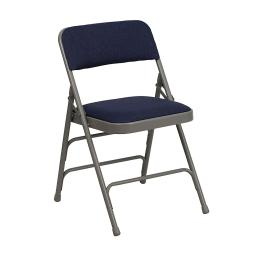 Offex Curved Triple Braced & Double Hinged Navy Fabric Metal Folding Chair