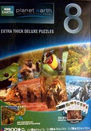 BBc Earth - Planet Earth Extra Thick Deluxe Puzzles - Set of 8 - High Quality - Includes 8x10 Reference cards - 2900 Total Pieces