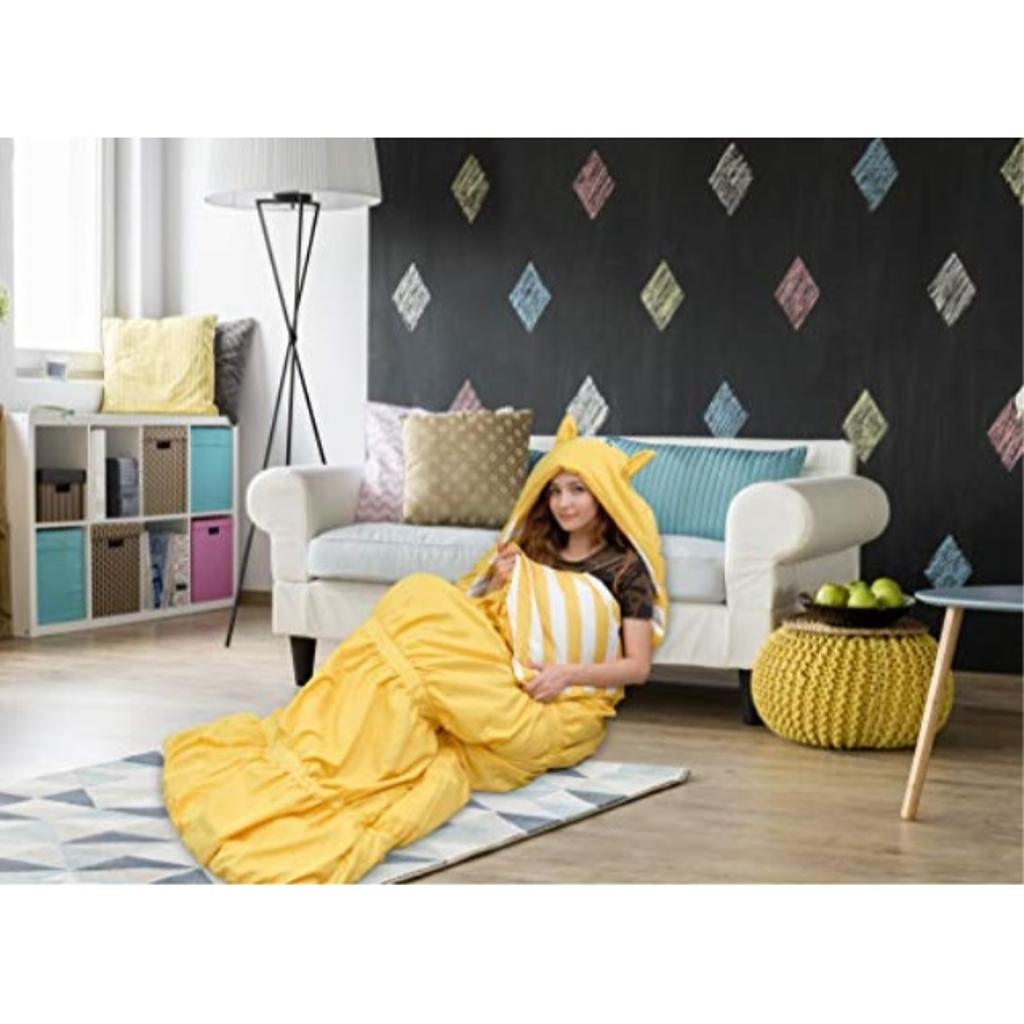 """Chic Home Skai Sleeping Bag with Cat Ear Hood Ruched Ruffled Design with Striped Interior for KidsTeens & Young Adults Zipper Closure32 x 75"""", 32 x 75, Yellow"""