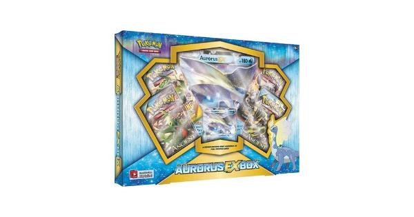 Pokemon TCG: Aurorus EX Pokemon Box - Contains 4 Booster Packs and Aurorus EX Rare Pokemon Card FROM THE FROZEN NORTH: AURORUS-EX! Auroras-EX arrives in a chilly blast of pure Pokemon power! The Pokemon TCG: Auroras-EX Box brings you this ancient Tundra Pokemon as a full-power Pokemon-EX. Its colorful sail and frozen charm are sure to delight!