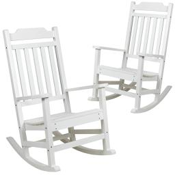 Flash Furniture Set of 2 Winston White Faux Wood All-Weather Rocking Chair for Indoor and Outdoor