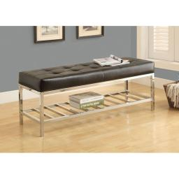"""Offex OFX-283792-MO Black Leather-Look/Chrome Metal 48""""L Bench"""
