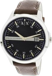 Armani Exchange Men's Steel Watch with Leather Strap