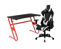 Offex Red Gaming Desk and Black Reclining Gaming Chair Set with Cup Holder and Headphone Hook