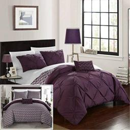 Chic Home 4 Piece Jacky Pinch, Reversible Chevron Print Ruffled and Pleated Complete King Comforter Set Purple Shams and Decorative Pillows Included