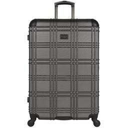 Ben Sherman Nottingham 28-inch Check-Size Lightweight Durable Hardshell 4-Wheel Spinner Upright Luggage, Charcoal