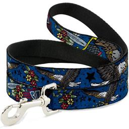 Buckle Down Dog Leash Truth and Justice Close Up Blue 6 Feet Long 1.5 Inch Wide
