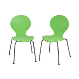 Gift Mark Modern Childrens 2 Chair Set with Chrome Legs - Green Color