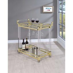 Modern Acrylic Serving Cart, Gold and Clear