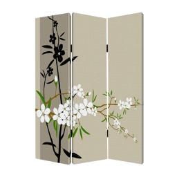 3 Panel Foldable Canvas Screen with Plum Blossom Print , Multicolor