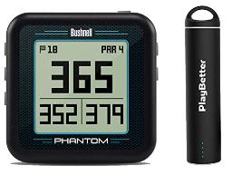 Bushnell Phantom (Black) Power Bundle with PlayBetter Portable Charger   Handheld Golf GPS, Built-in Golf Cart Magnet, 35,000+ Pre-Loaded Courses, Compact & Lightweight