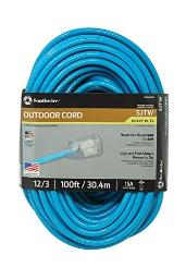 Southwire 02579-0H 100-Foot 12/3 Neon Outdoor Extension Cord, Bright Blue
