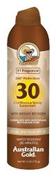 Australian Gold Continuous Spf#30 Spray 6 Ounce With Bronzer (177ml) (3 Pack)