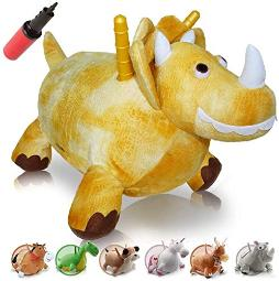 Waliki Bouncy Horse Hopper Inflatable Hopping Horse For Kids Jumping Horse (Triceratops)
