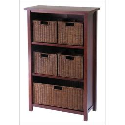 Winsome 94313 Milan 6 Piece Cabinet or Shelf and Baskets - Shelf  One Basket  4 Small Baskets - Antique Walnut
