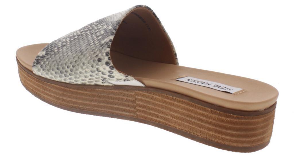 4835765596 STEVE MADDEN Steve Madden Womens Genca Leather Open Toe Casual Slide Sandals  | massgenie.com