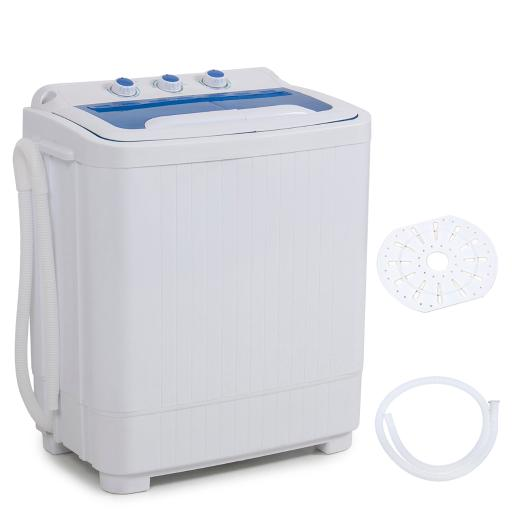 Della Mini Electric Washing Machine Home Twin Tub 8.8LBS Portable Compact Washer & Spin Dry Cycle Built-in Pump w/ Hose,