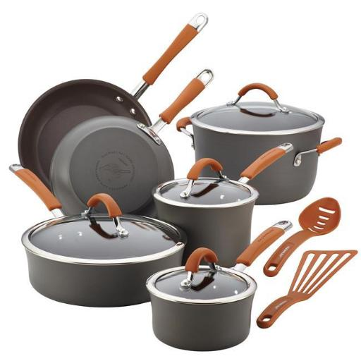 Rachael Ray 87635 Cucina Hard-Anodized Nonstick 12-Piece Cookware Set, Gray With Pumpkin Orange Handles