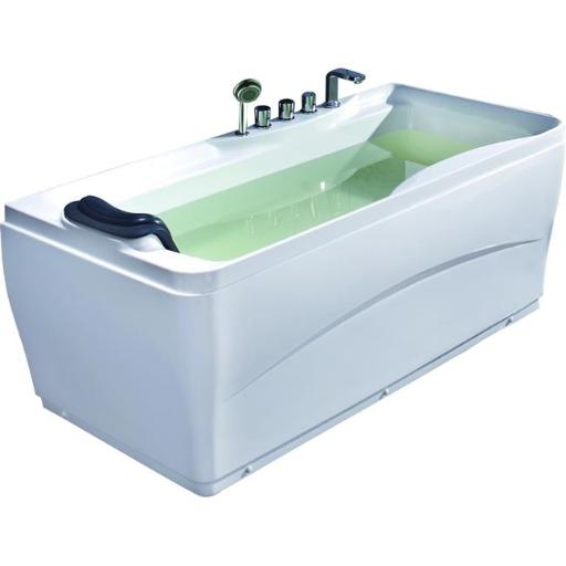White Acrylic 63 inch Soaking Tub with Fixtures