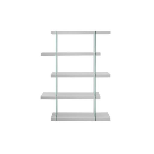 Casabianca Furniture CB-111-WW-BKS Il Vetro Glass Bookcase, White Lacquer - 71 x 55 x 13 in.