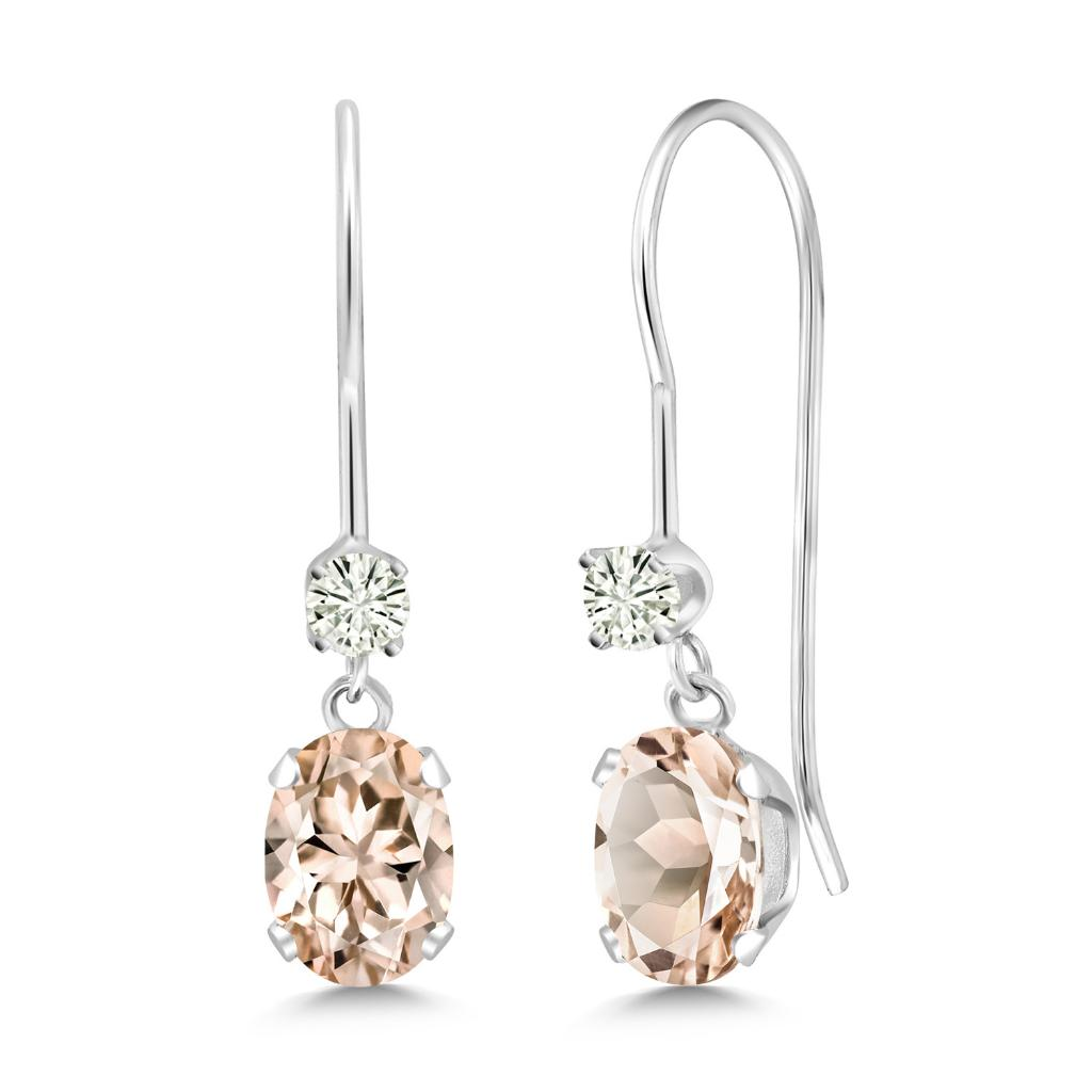 14K White Gold Dangle Earrings Oval Peach Morganite and Forever Classic Created Moissanite 0.12ct (DEW) by Charles & Colvard