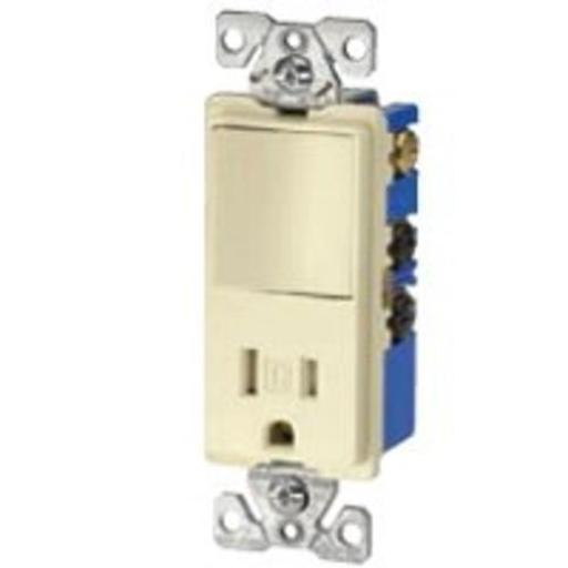 Cooper Wiring Tr7730w Tamper Resistant Decorator Combination Switch/receptacle, 15 Amp, White