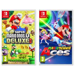 Nintendo Switch New Super Mario Bros U Deluxe and Mario Tennis Aces Import Region Free