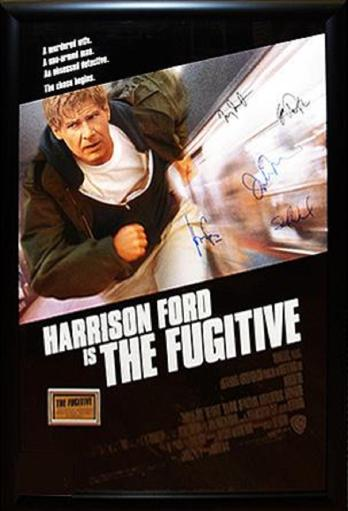 The Fugitive - Signed Movie Poster in Wood Frame with COA