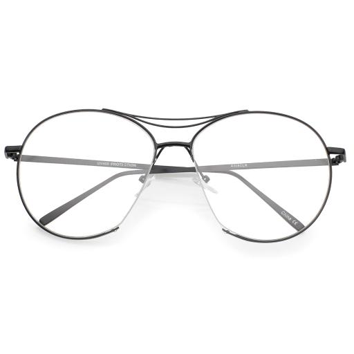 6635ff85f88a6 Oversize Semi-Rimless Brow Bar Round Clear Flat Lens Aviator Eyeglasses 59mm