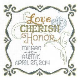 """Honoring Marriage Wedding Record Counted Cross Stitch Kit-9.5""""X9.5"""" 14 Count I2875"""