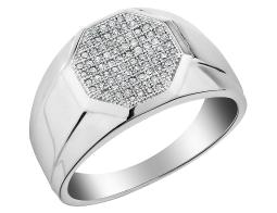 Mens Diamond Wedding Band 1/4 Carat (ctw) in 10K White Gold