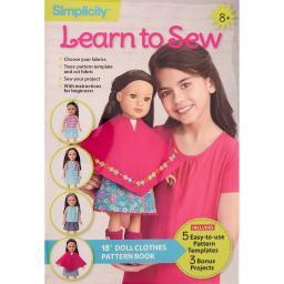 "Simplicity Learn To Sew  18"" Doll Clothes"