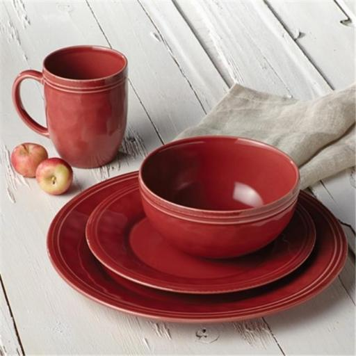 Rachael Ray 55096 Cucina Dinnerware 16-Piece Stoneware Dinnerware Set, Cranberry Red