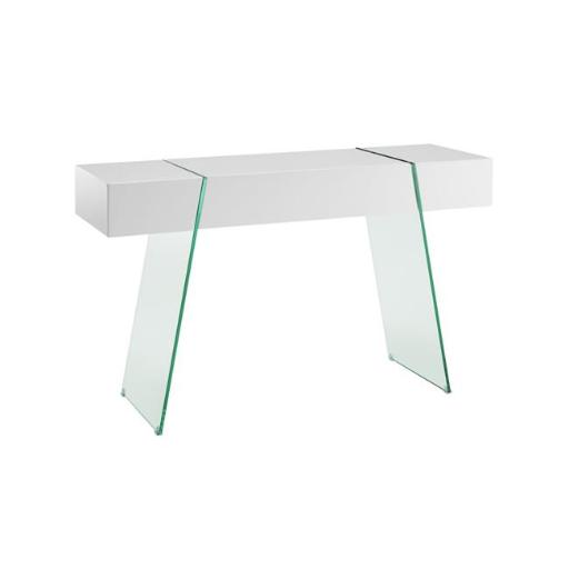 Casabianca Furniture CB-111-DR-CONSOLE-WH Il Vetro Cabana Console Table, White Lacquer - 29 x 47 x 16 in.