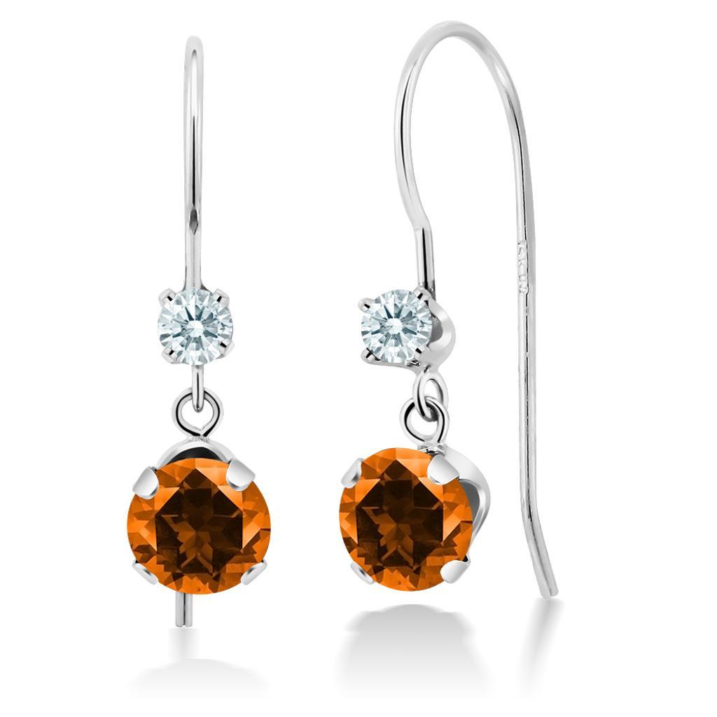 14K White Gold Earrings Set with Round Poppy Topaz from Swarovski