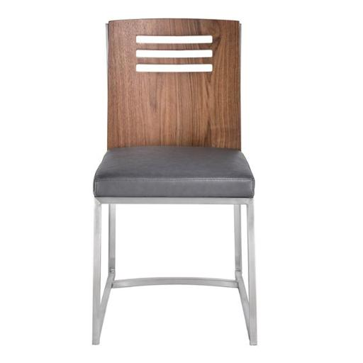Armen Living LCOXSIVGBS 33.46 x 23.62 x 17.72 in. Oxford Dining Chair, Brushed Stainless Steel with Vintage Grey Faux Leather & Walnut Wood Back