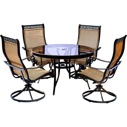Hanover MONDN5PCSWG Monaco Dining Set with Swivel Sling Chairs & Glass Table - 5 Piece