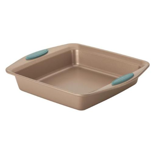 Rachael Ray 46681 9 in. Cucina Nonstick Bakeware Square Cake Pan, Latte Brown